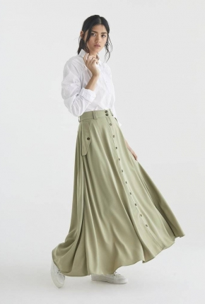 Jupe longue Flo Olive