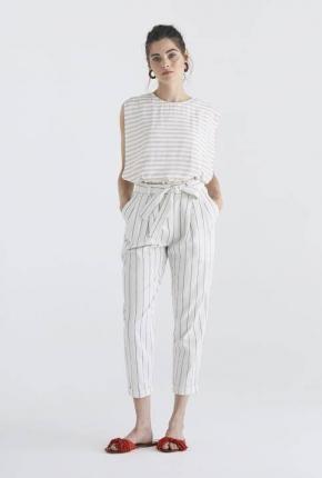 Pantalon Botany rayé blanc