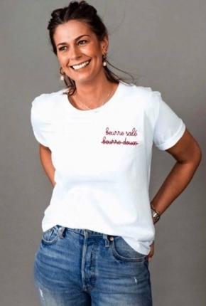 T-shirt femme brodé beurre...