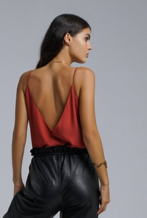 Top en soie Maeva terracotta