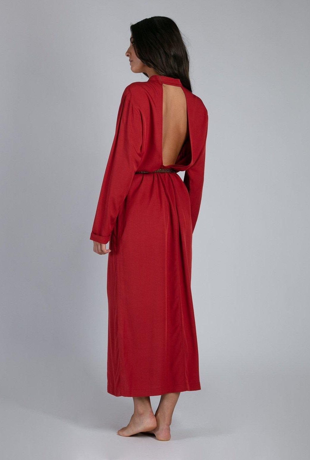 Robe longue Cocker velvet red
