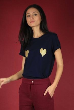 T-shirt bleu nuit coeurs dorés