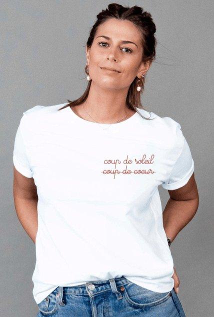 T-shirt femme brodé coup de...
