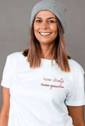 T-shirt femme brodé Rive...